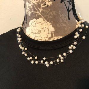 Pearl necklace multi strand delicate and pretty